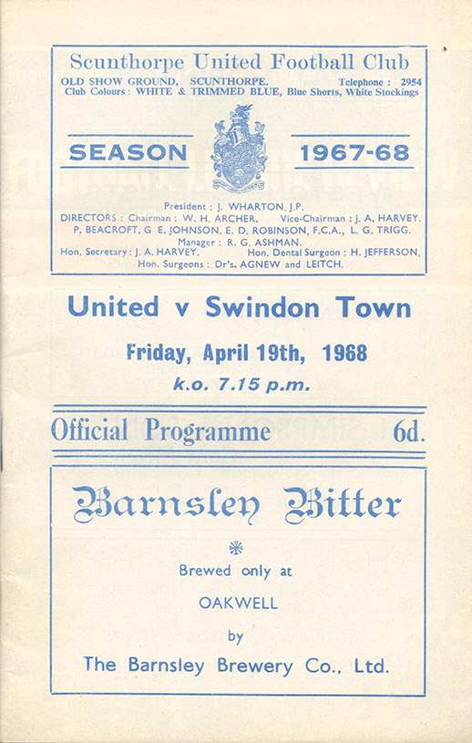 Friday, April 19, 1968 - vs. Scunthorpe United (Away)