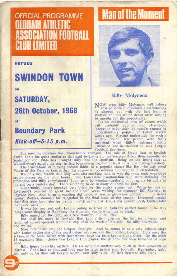 <b>Saturday, October 26, 1968</b><br />vs. Oldham Athletic (Away)