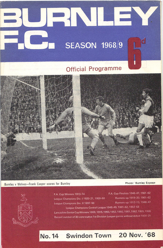 <b>Wednesday, November 20, 1968</b><br />vs. Burnley (Away)