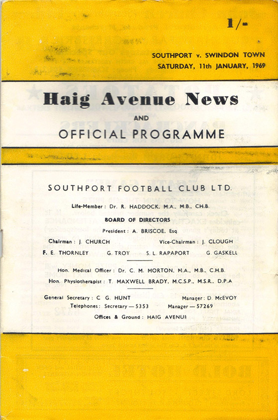 <b>Saturday, January 11, 1969</b><br />vs. Southport (Away)