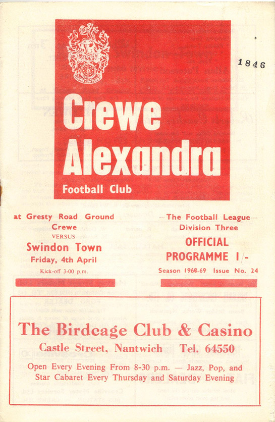 <b>Friday, April 4, 1969</b><br />vs. Crewe Alexandra (Away)