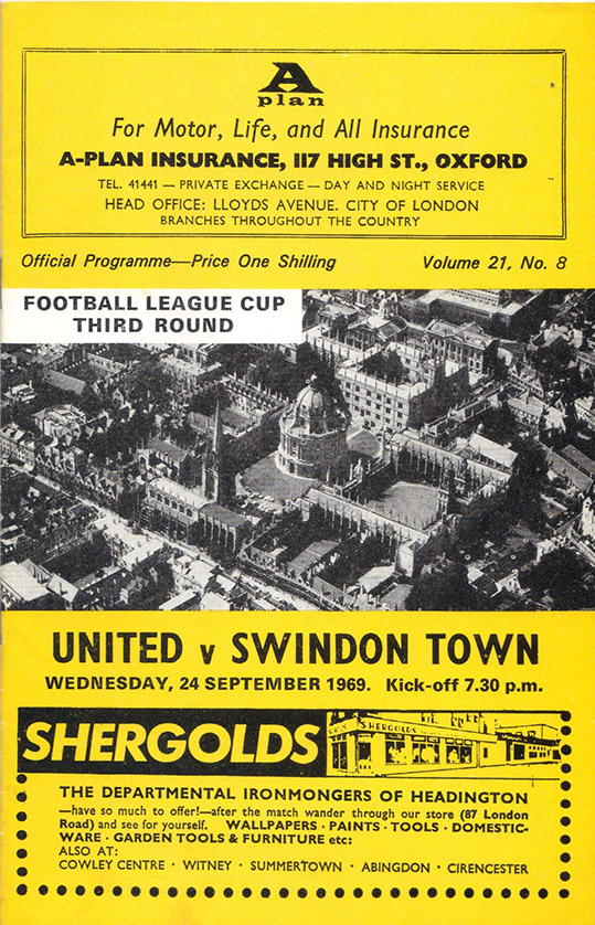 <b>Wednesday, September 24, 1969</b><br />vs. Oxford United (Away)