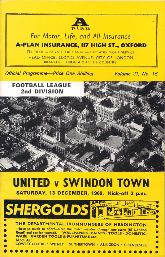 <b>Saturday, December 13, 1969</b><br />vs. Oxford United (Away)