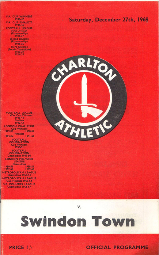 <b>Saturday, December 27, 1969</b><br />vs. Charlton Athletic (Away)