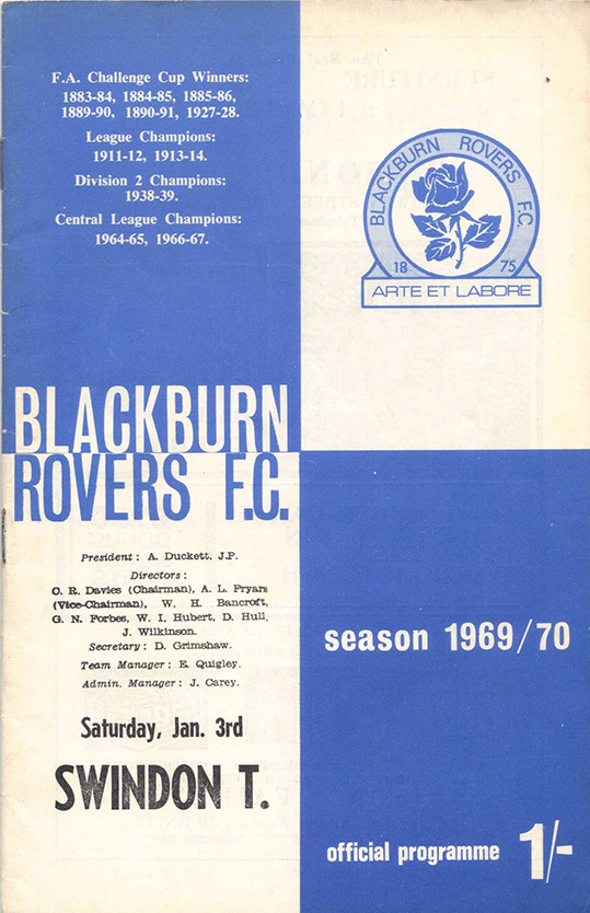 <b>Saturday, January 3, 1970</b><br />vs. Blackburn Rovers (Away)