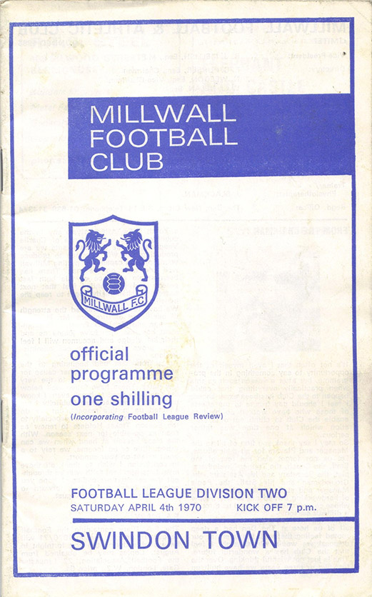 <b>Saturday, April 4, 1970</b><br />vs. Millwall (Away)