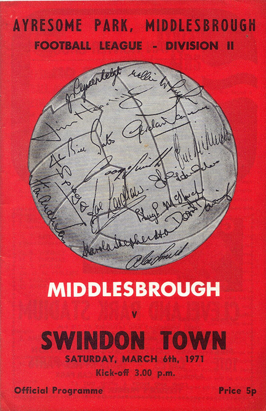 <b>Saturday, March 6, 1971</b><br />vs. Middlesbrough (Away)