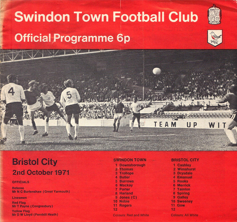 <b>Saturday, October 2, 1971</b><br />vs. Bristol City (Home)