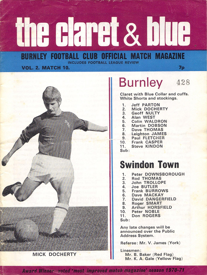 <b>Saturday, November 27, 1971</b><br />vs. Burnley (Away)