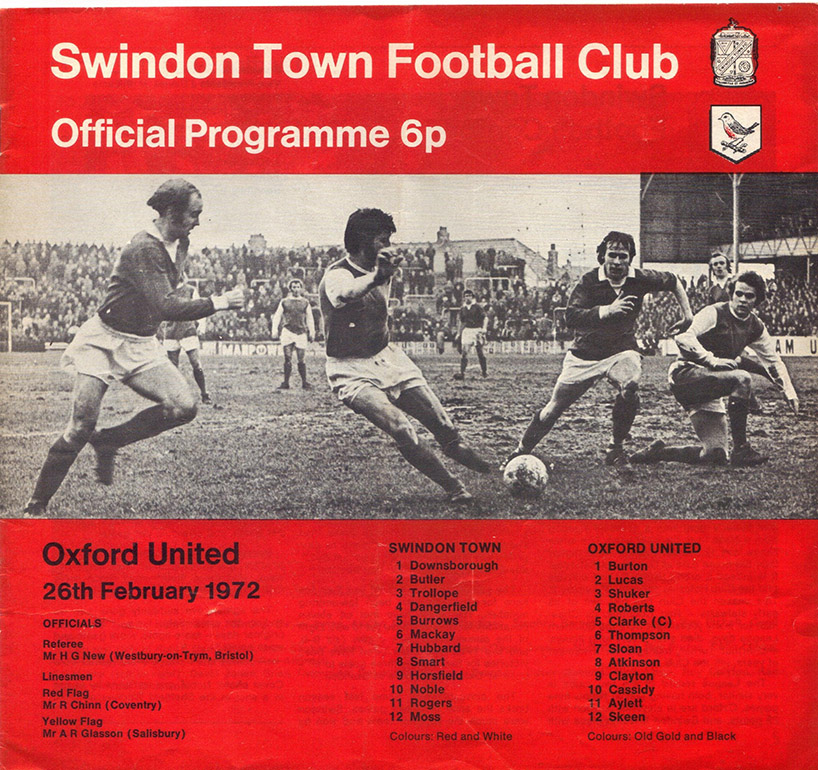 <b>Saturday, February 26, 1972</b><br />vs. Oxford United (Home)