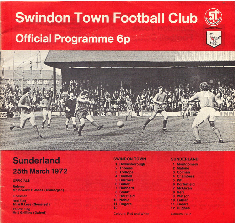 <b>Saturday, March 25, 1972</b><br />vs. Sunderland (Home)