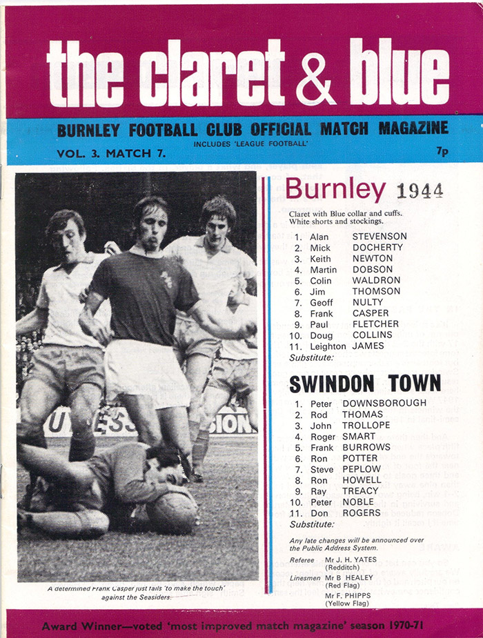 <b>Saturday, October 7, 1972</b><br />vs. Burnley (Away)