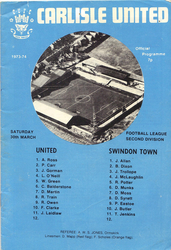 <b>Saturday, March 30, 1974</b><br />vs. Carlisle United (Away)