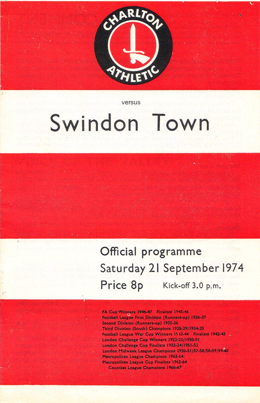 <b>Saturday, September 21, 1974</b><br />vs. Charlton Athletic (Away)