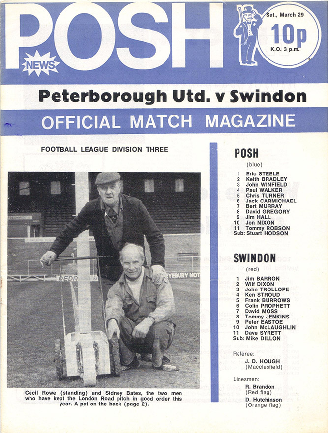 Saturday, March 29, 1975 - vs. Peterborough United (Away)