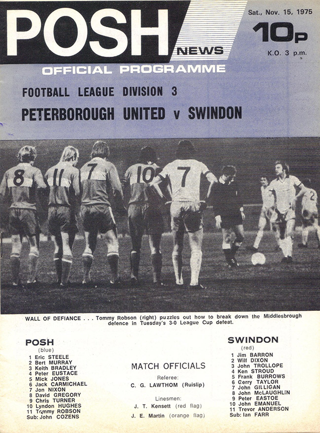 Saturday, November 15, 1975 - vs. Peterborough United (Away)