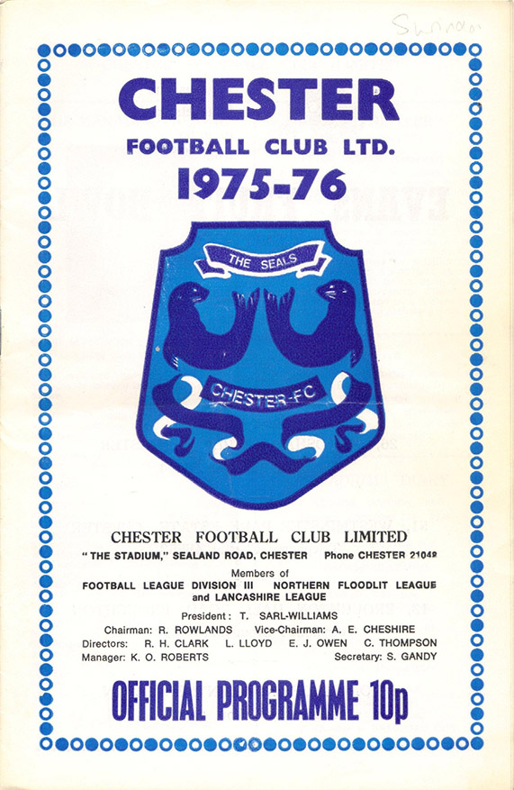 <b>Saturday, December 20, 1975</b><br />vs. Chester (Away)