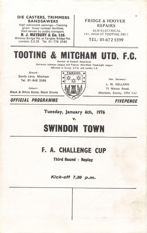 <b>Tuesday, January 6, 1976</b><br />vs. Tooting and Mitcham United (Away)