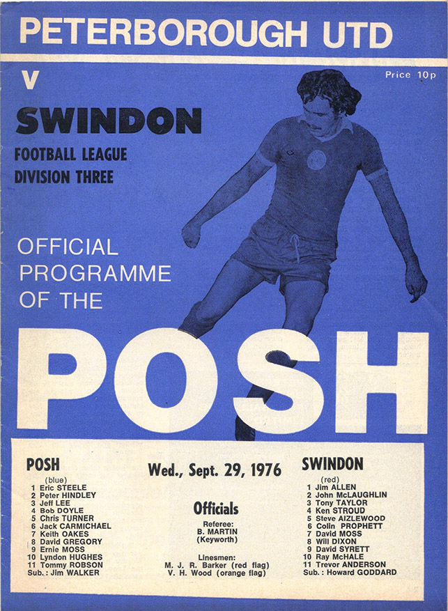 Wednesday, September 29, 1976 - vs. Peterborough United (Away)