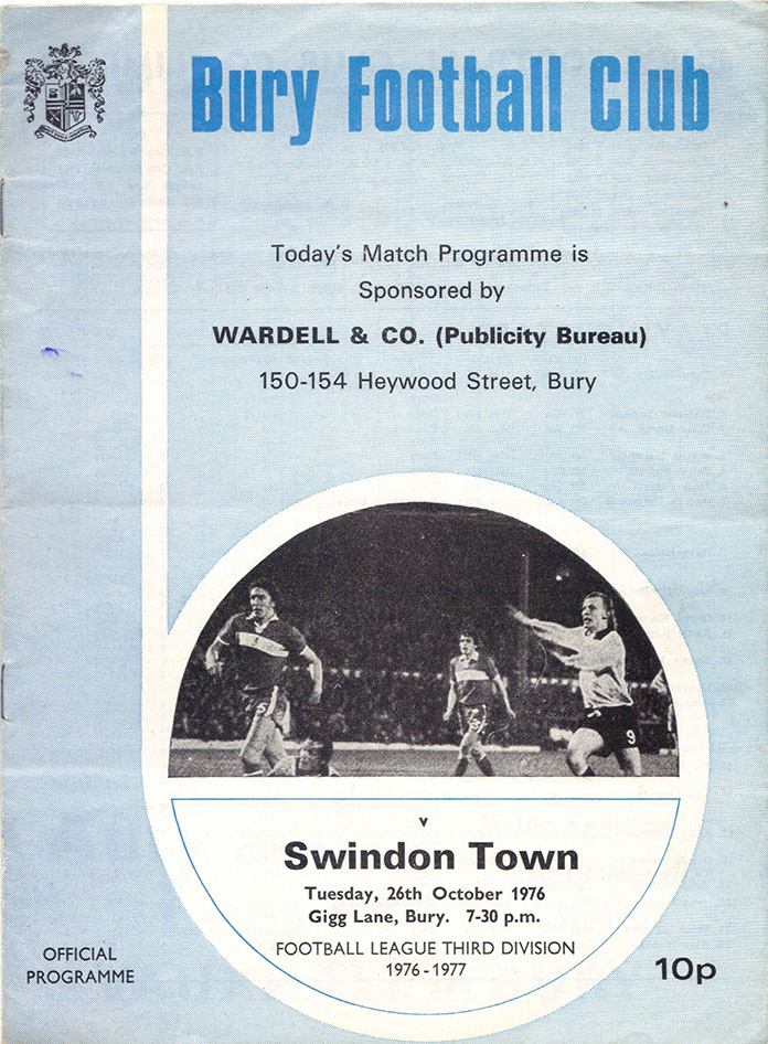 <b>Tuesday, October 26, 1976</b><br />vs. Bury (Away)