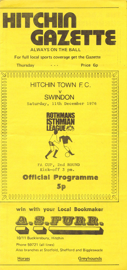 <b>Saturday, December 11, 1976</b><br />vs. Hitchin Town (Away)