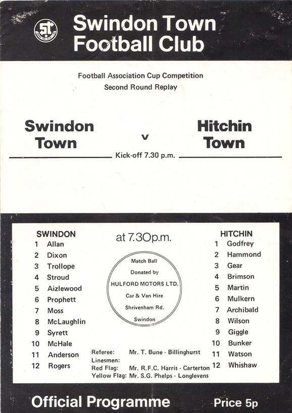 <b>Tuesday, December 21, 1976</b><br />vs. Hitchin Town (Home)