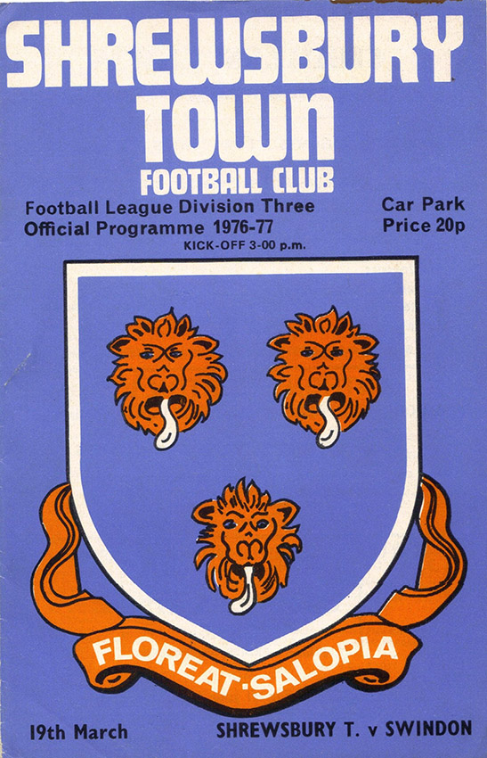 <b>Saturday, March 19, 1977</b><br />vs. Shrewsbury Town (Away)