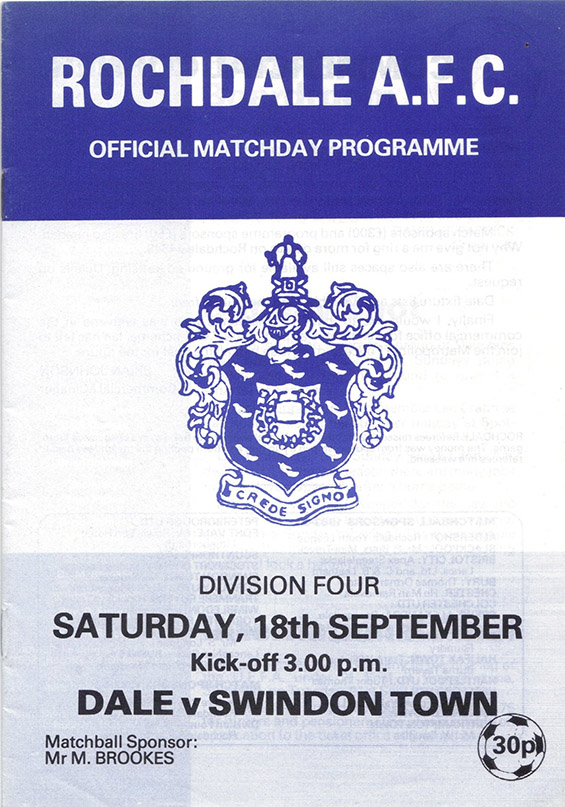 Saturday, September 18, 1982 - vs. Rochdale (Away)