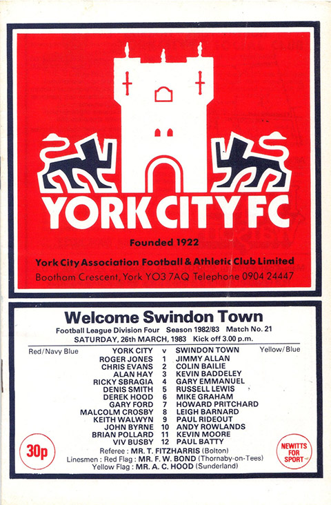 Saturday, March 26, 1983 - vs. York City (Away)