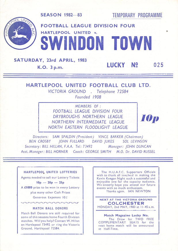 Saturday, April 23, 1983 - vs. Hartlepool United (Away)