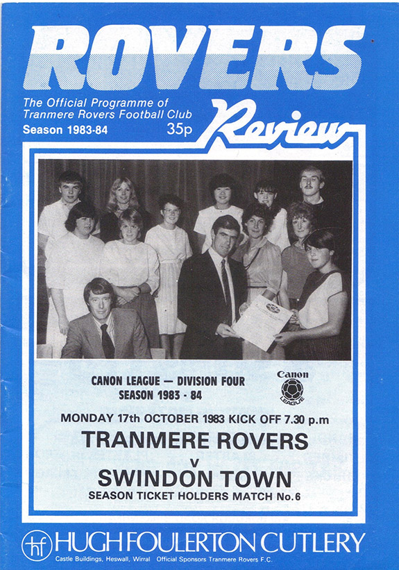 Monday, October 17, 1983 - vs. Tranmere Rovers (Away)