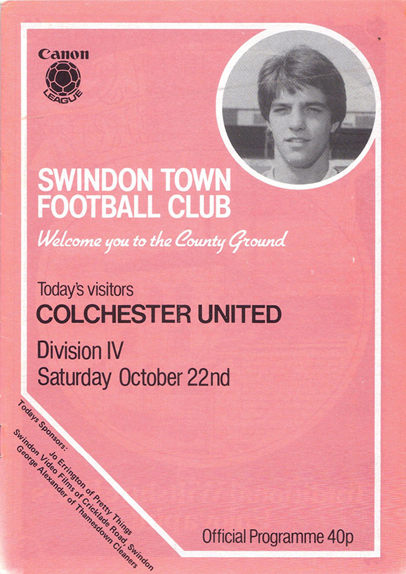 Saturday, October 22, 1983 - vs. Colchester United (Home)