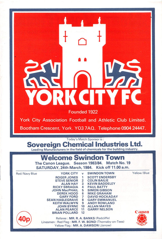 Saturday, March 24, 1984 - vs. York City (Away)
