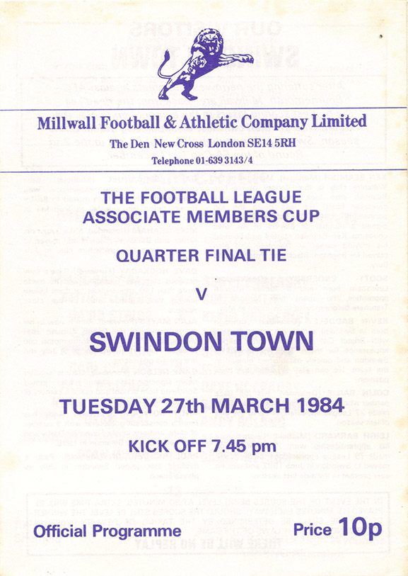 Tuesday, March 27, 1984 - vs. Millwall (Away)
