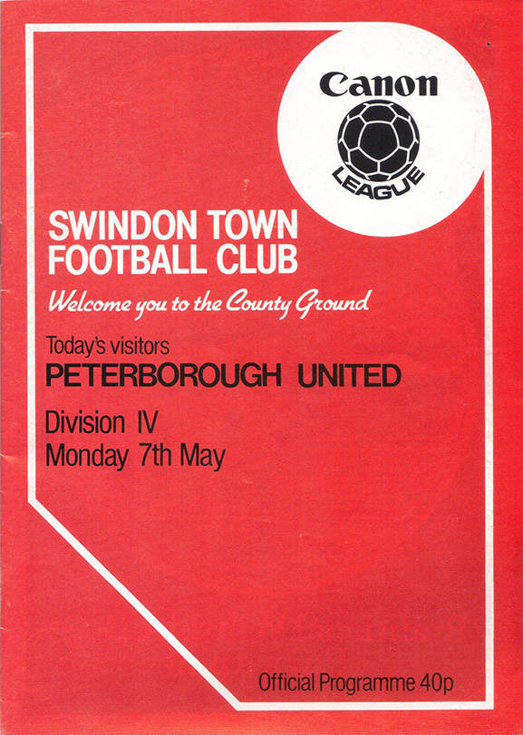 Monday, May 7, 1984 - vs. Peterborough United (Home)