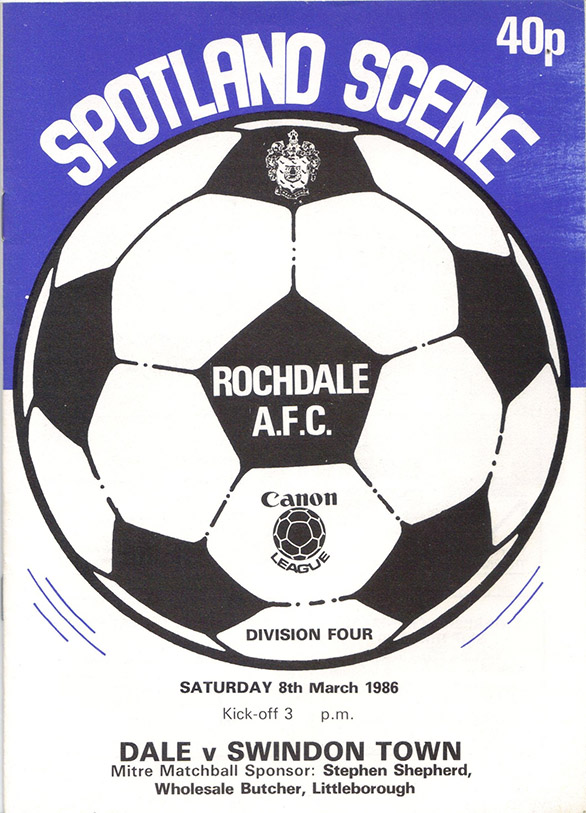 <b>Saturday, March 8, 1986</b><br />vs. Rochdale (Away)