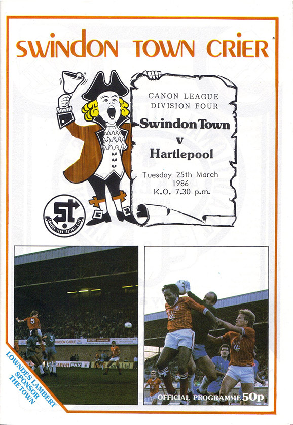 <b>Tuesday, March 25, 1986</b><br />vs. Hartlepool United (Home)