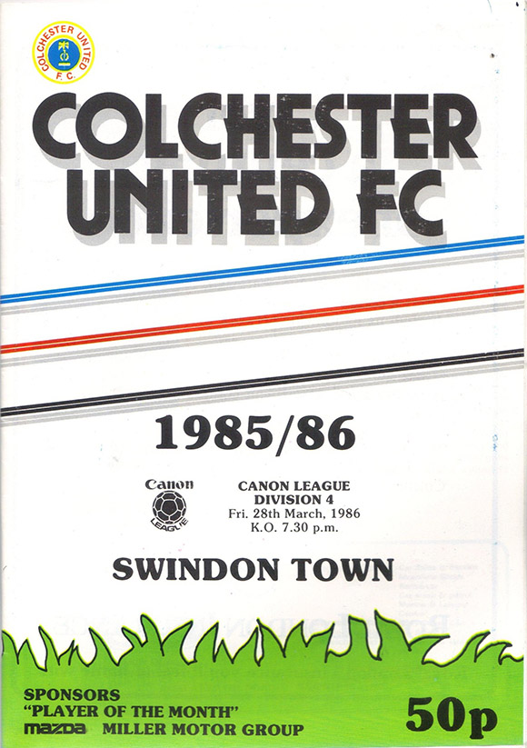 <b>Friday, March 28, 1986</b><br />vs. Colchester United (Away)
