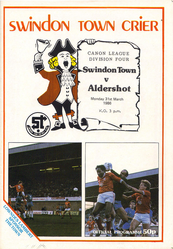 <b>Monday, March 31, 1986</b><br />vs. Aldershot (Home)