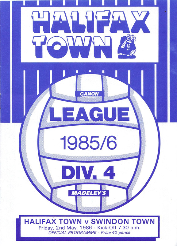 <b>Friday, May 2, 1986</b><br />vs. Halifax Town (Away)