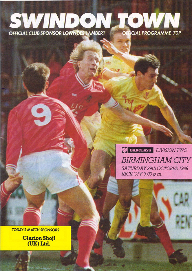 Saturday, October 29, 1988 - vs. Birmingham City (Home)