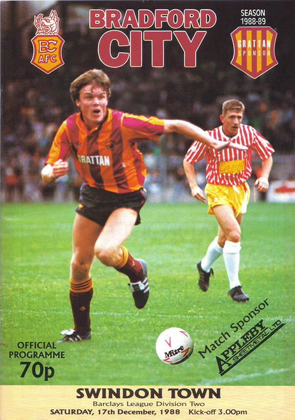 Saturday, December 17, 1988 - vs. Bradford City (Away)