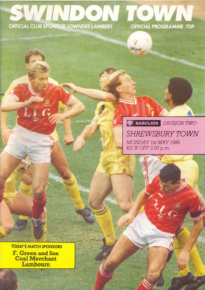 Monday, May 1, 1989 - vs. Shrewsbury Town (Home)