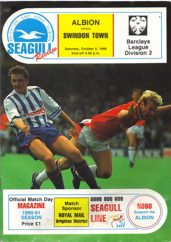 <b>Saturday, October 6, 1990</b><br />vs. Brighton and Hove Albion (Away)