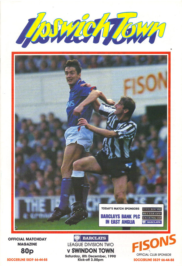 <b>Saturday, December 8, 1990</b><br />vs. Ipswich Town (Away)