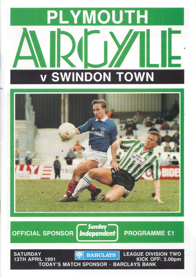 <b>Saturday, April 13, 1991</b><br />vs. Plymouth Argyle (Away)