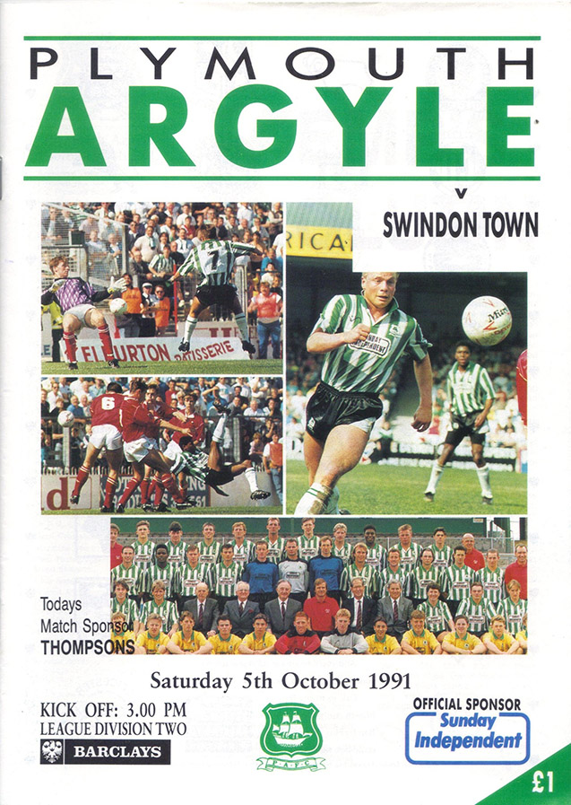 <b>Saturday, October 5, 1991</b><br />vs. Plymouth Argyle (Away)