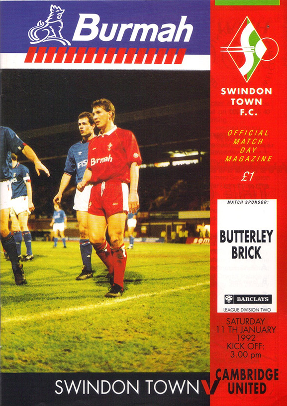<b>Saturday, January 11, 1992</b><br />vs. Cambridge United (Home)