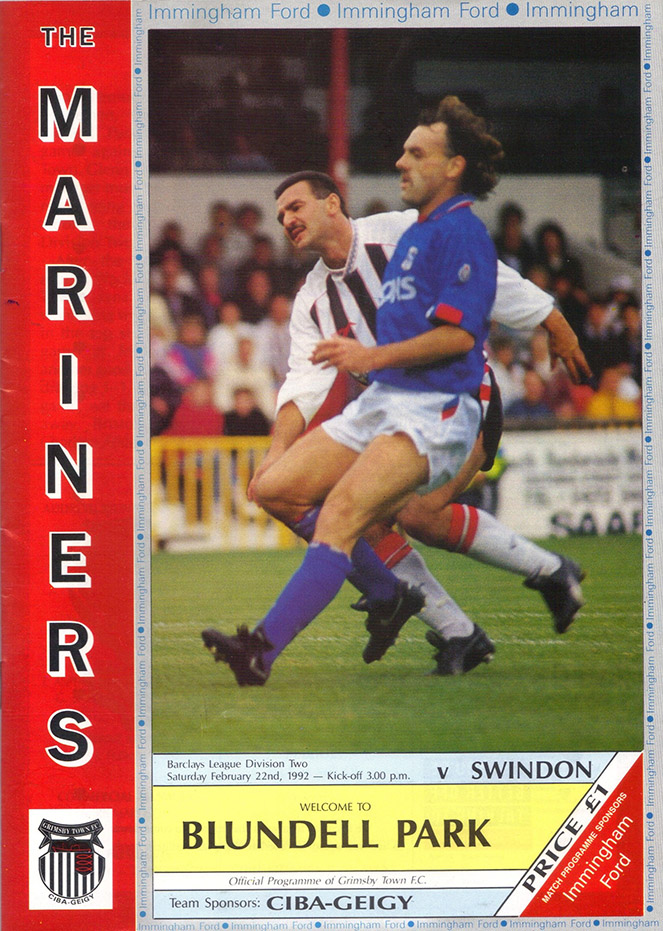 <b>Saturday, February 22, 1992</b><br />vs. Grimsby Town (Away)