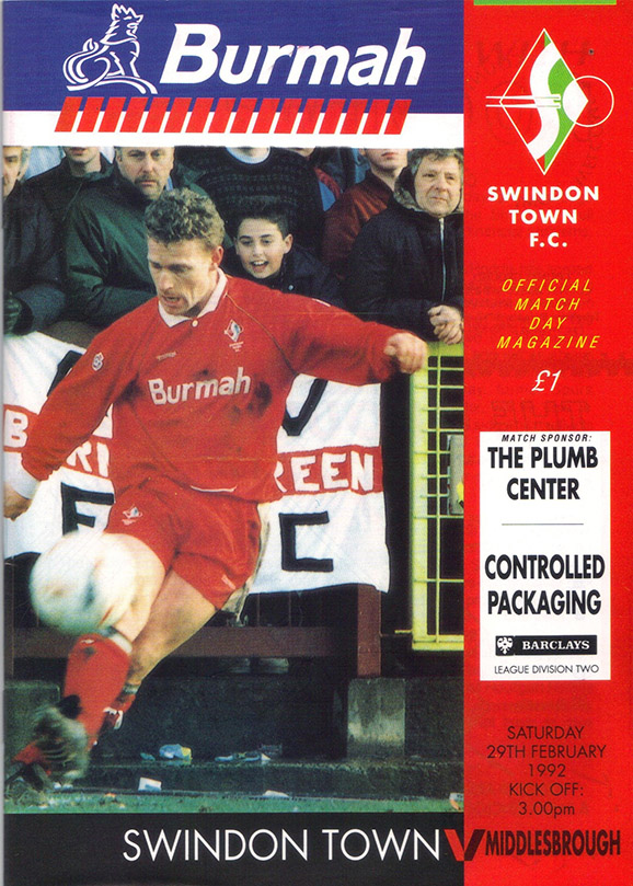 <b>Saturday, February 29, 1992</b><br />vs. Middlesbrough (Home)